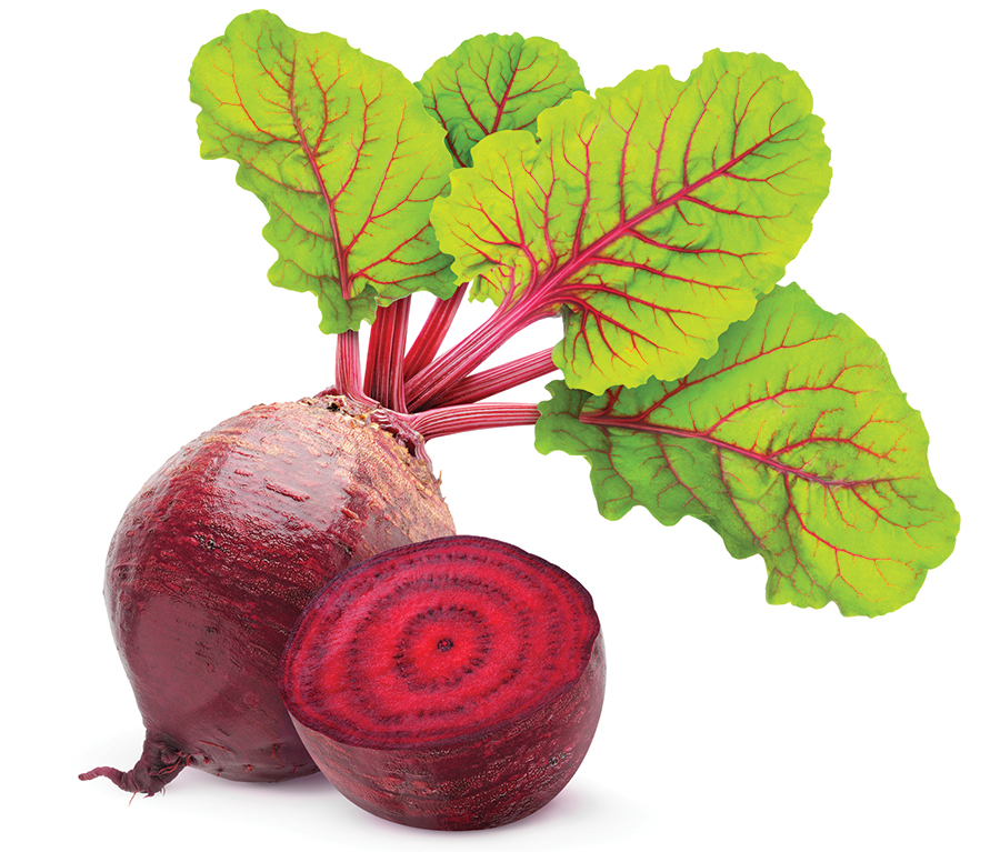 Fresh beetroot with leaves isolated on white.