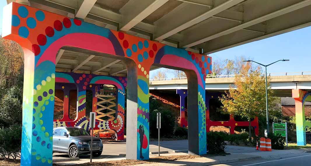 downtown GSO bridge mural